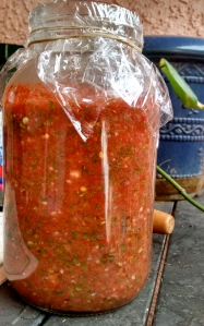 a large jar of homemade salsa!